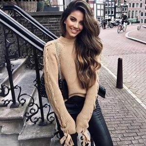 Sweaters - HOST PICK!!! Lace Up Sleeves Knitted Sweater.